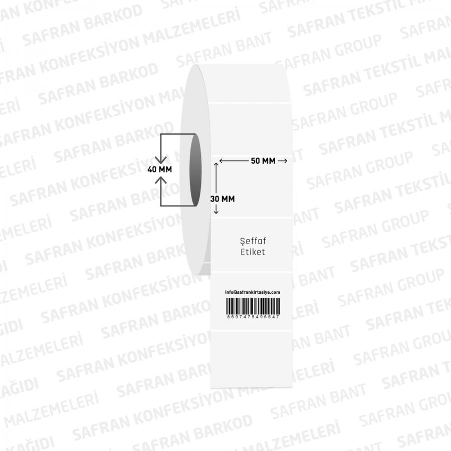 50 X 30  PVC ŞEFFAF ETİKET ( 1000 li )